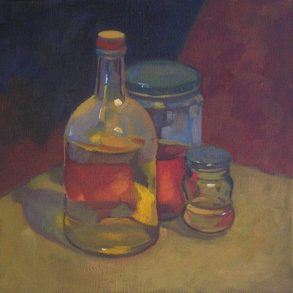 pots et flacons peintre à l'huile