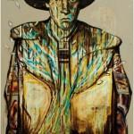 personnage avec chapeau - peinture contemporaine de fabrice rabin