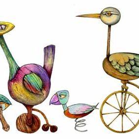 jouets en forme de canard sur vélos