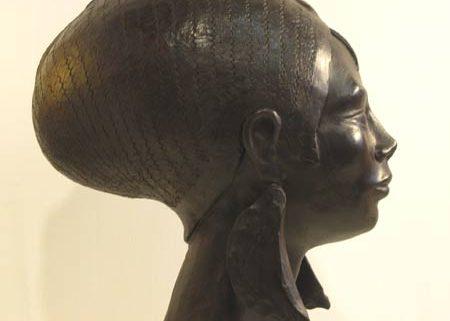 tête de femme sculpture en bronze de patrick poiron