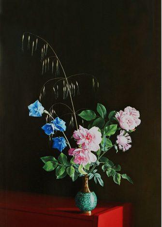 peinture de style ancien : bouquet de fleurs pivoines dans un vase vert sur un fond noir