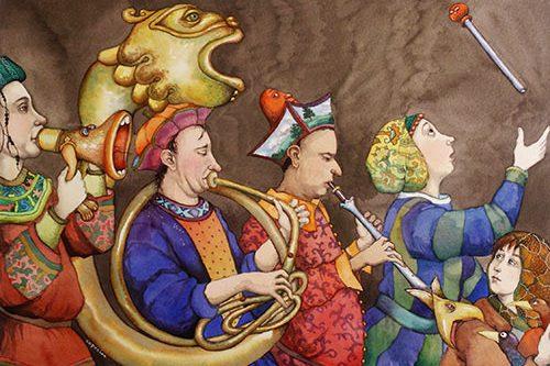 illustration hommes moyen-âge et tuba en forme de dragon