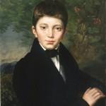 portrait d'un garçon dans un style ancien, peinture de françois perego