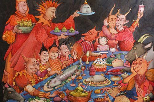 illustration dessin à table festin
