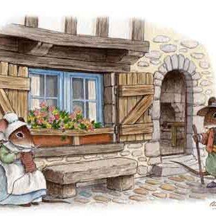 illustration vieille maison et souris habillée