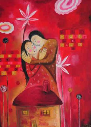 couple peinture naïve