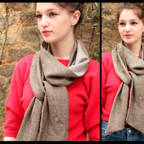 foulard beige tartine de laine artiste artisan d'art créateur ville Dinan côtes-d'armor tourisme bretagne