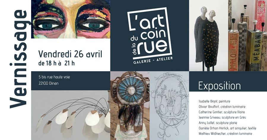 carton vernissage galerie l'art au coin de la rue à Dinan