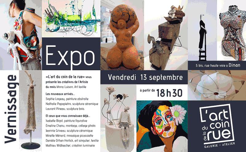 vernissage vendre 13 septembre 2019 galerie l'art du coin de la rue à Dinan