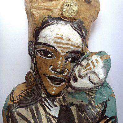 poupée cartonnage mère et enfant