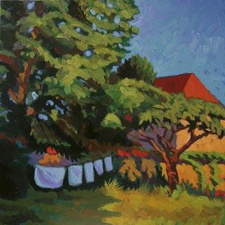 peinture d'un jardin en été