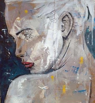 peinture profil de femme