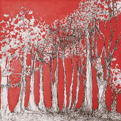 dessin d'arbres blancs sur fond rouge