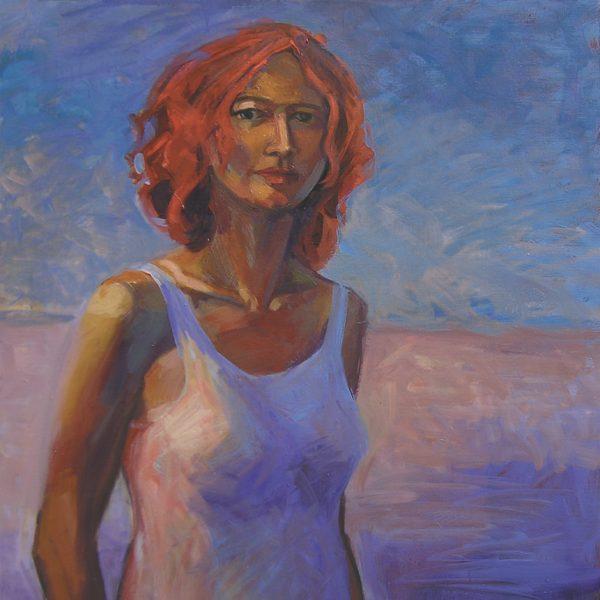 Femme sur la plage, peinture art-dinan