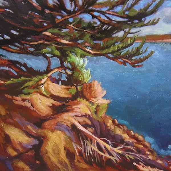 Sentier côtier, peinture de paysage en côtes d'Armor