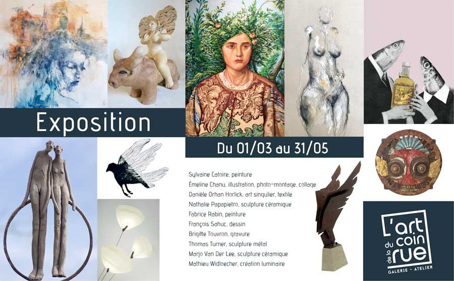 Exposition à la galerie L'Art du coin de la rue à Dinan en Bretagne