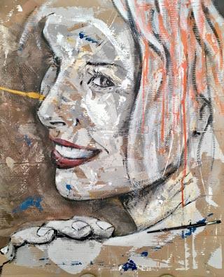 Tête de femme peinte sur papier, Nicolas Fauxbaton